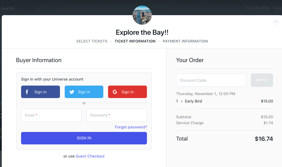 Buying tickets – Universe Help Center
